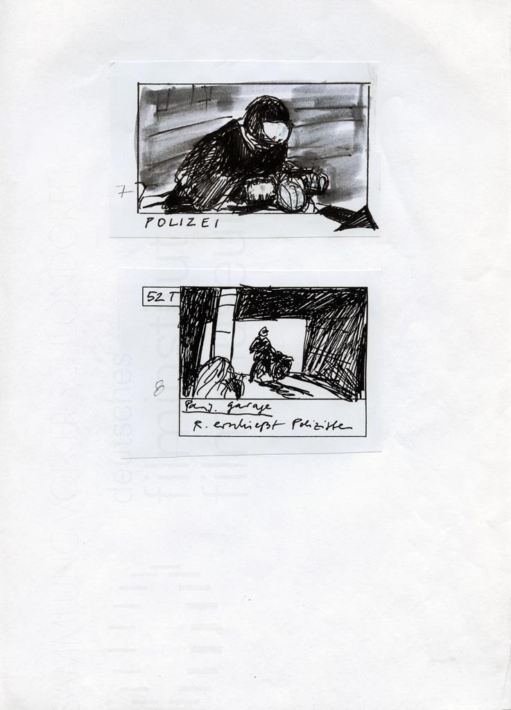 """DIE STILLE NACH DEM SCHUSS // Produktionsunterlagen / Storyboard """"Motorrad"""" 3"""