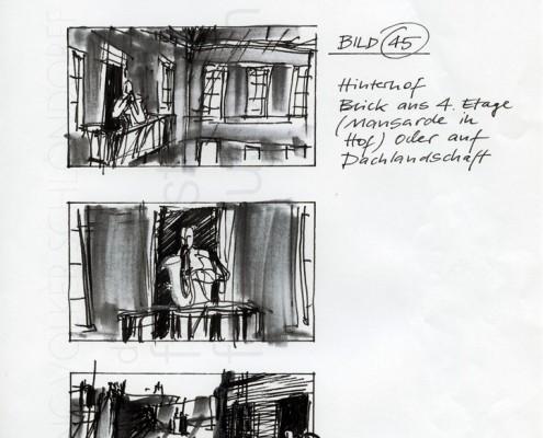 """DIE STILLE NACH DEM SCHUSS // Produktionsunterlagen / Storyboard """"Hinterhof Paris"""""""