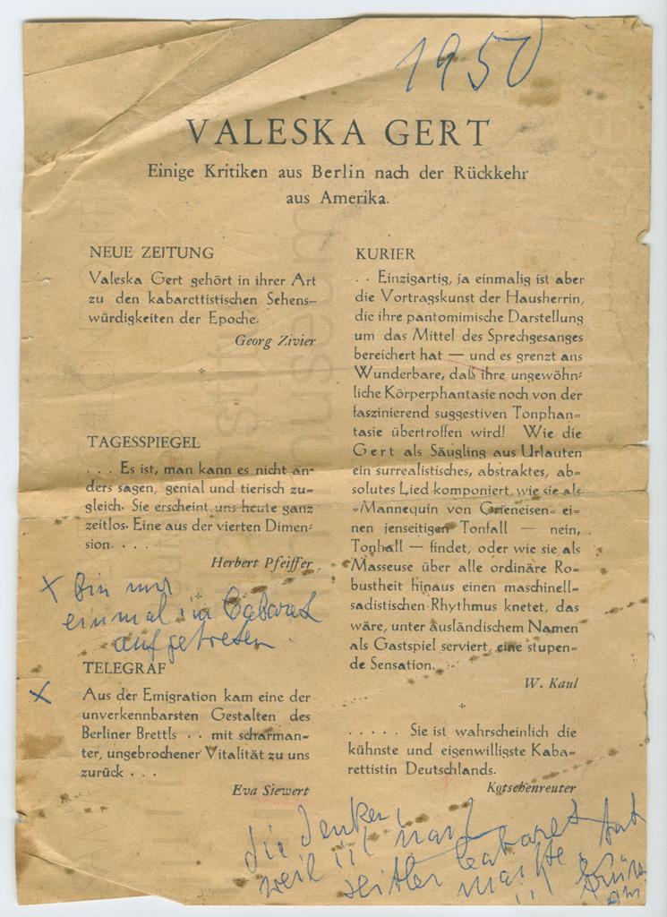 KALEIDOSKOP VALESKA GERT // Sonstiges / Valeska Gert Kritiken 1950