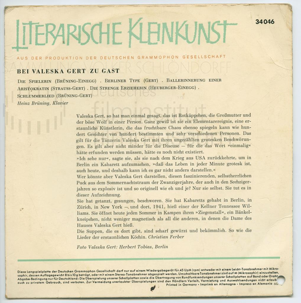 KALEIDOSKOP VALESKA GERT // Sonstiges / Absurdes Kabarett Schallplatte 2