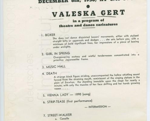 KALEIDOSKOP VALESKA GERT // Sonstiges / Auftrittsplakat 1936