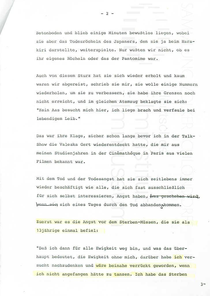 KALEIDOSKOP VALESKA GERT // Sonstiges / Nachruf VS auf Valeska Gert 1a