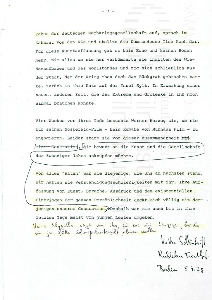 KALEIDOSKOP VALESKA GERT // Sonstiges / Nachruf VS auf Valeska Gert 1f