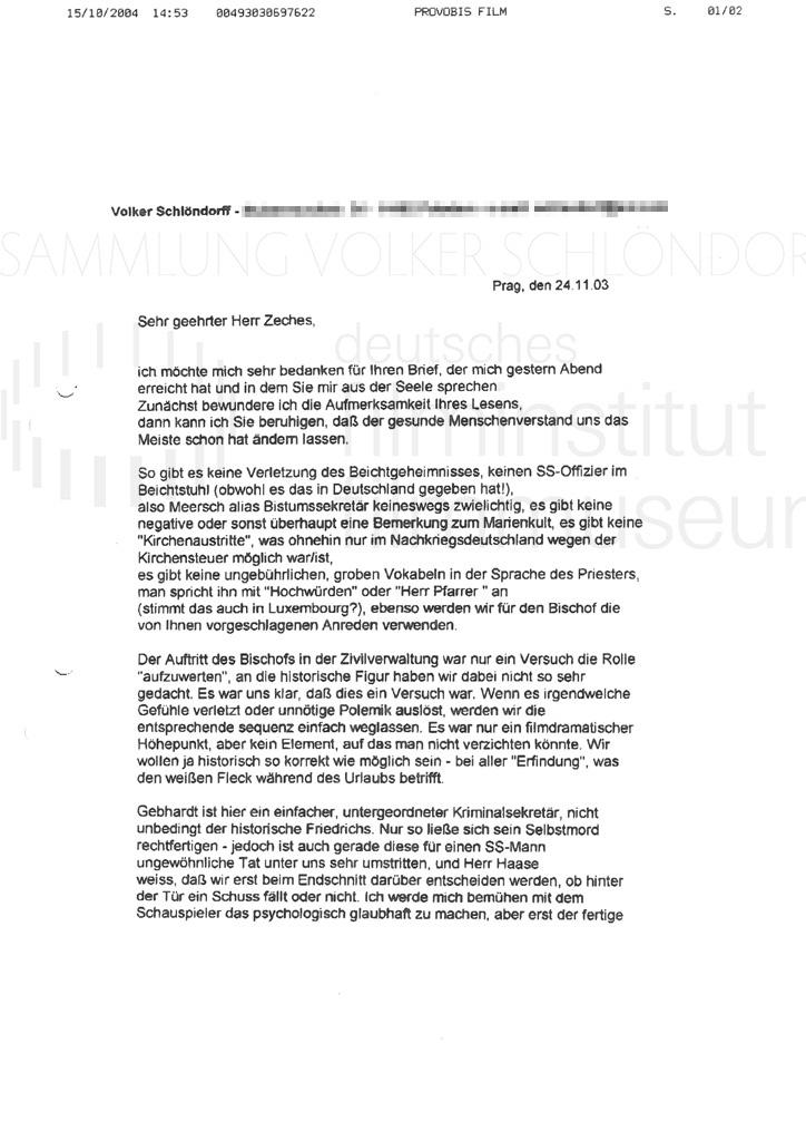 DER NEUNTE TAG // Korrespondenz / Volker Schlöndorff