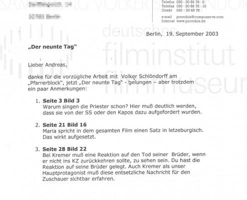 DER NEUNTE TAG // Korrespondenz / Jürgen Haase, 1