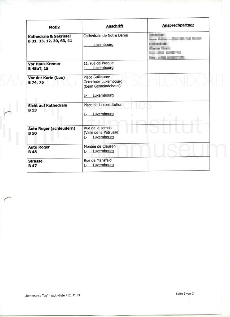 DER NEUNTE TAG // Vorbereitungsmaterial / Motivliste, 1a