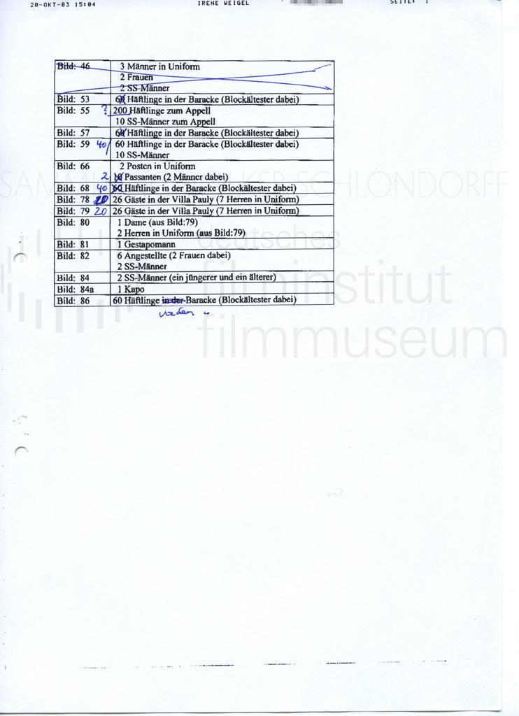 DER NEUNTE TAG // Vorbereitungsmaterial / Besetzungsliste, 1a