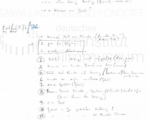 DER NEUNTE TAG // Produktionsmaterial / Shotlist, 2