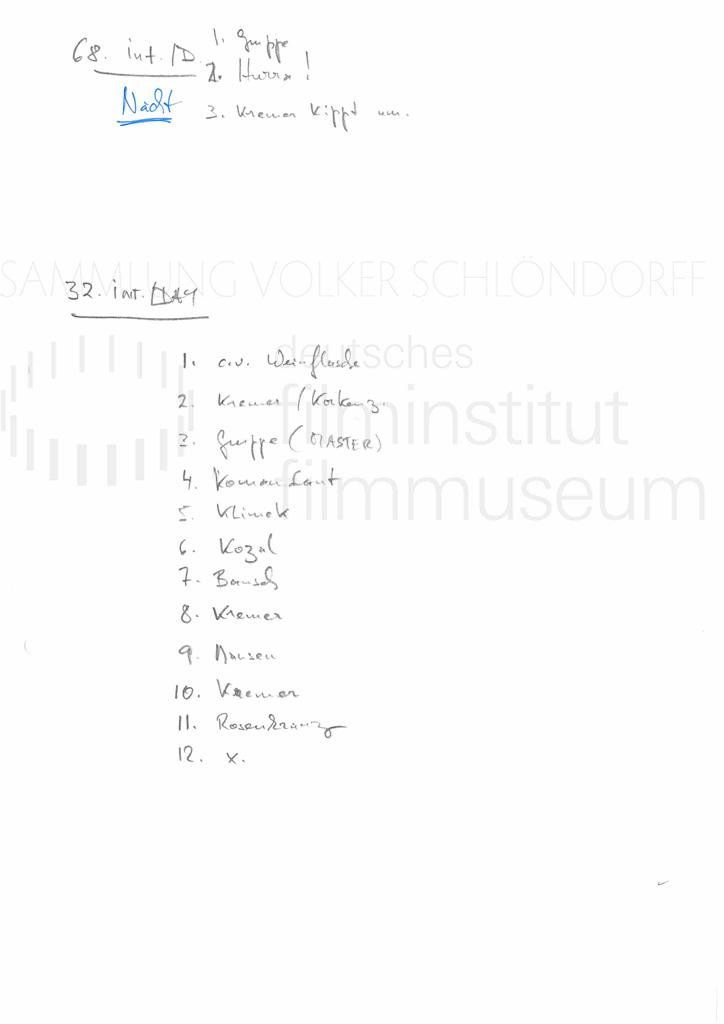 DER NEUNTE TAG // Produktionsmaterial / Shotlist, 3