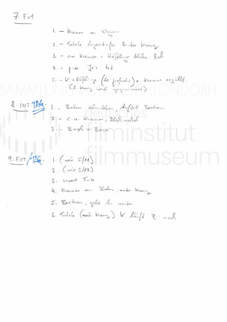 DER NEUNTE TAG // Produktionsmaterial / Shotlist, 4