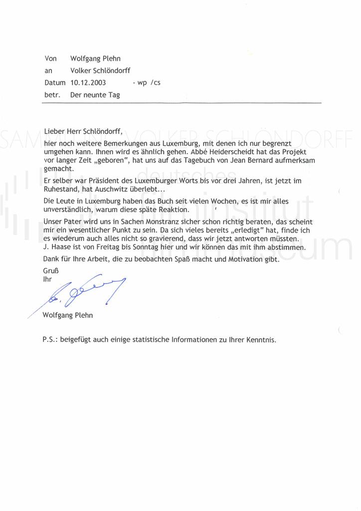 DER NEUNTE TAG // Korrespondenz / Wolfgang Plehn