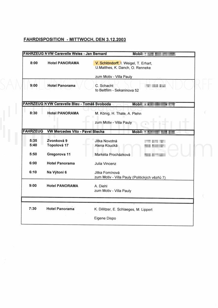 DER NEUNTE TAG // Produktionsmaterial / Notizen, 1a