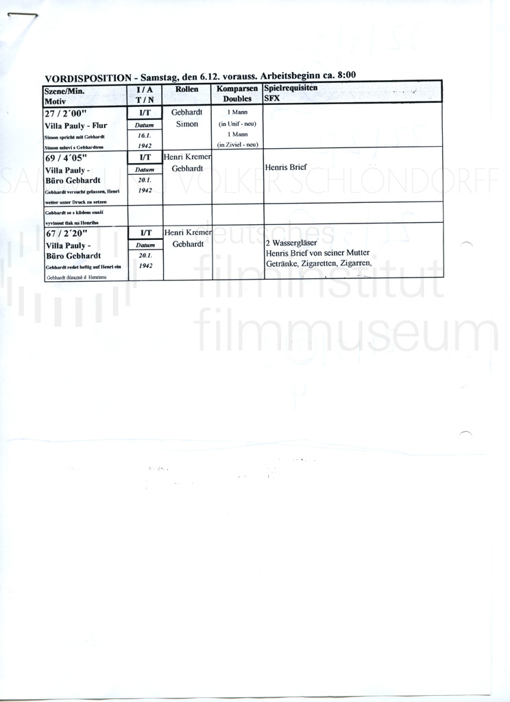 DER NEUNTE TAG // Produktionsmaterial / Notizen, 2a