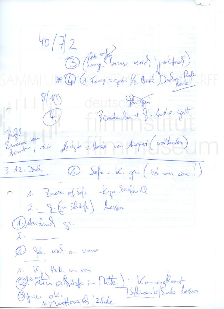 DER NEUNTE TAG // Produktionsmaterial / Notizen, 3