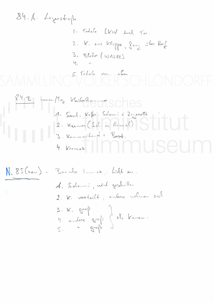 DER NEUNTE TAG // Produktionsmaterial / Shotlist, 5