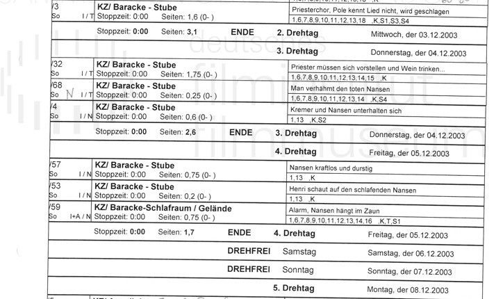 DER NEUNTE TAG // Produktionsmaterial / Drehplan, 1