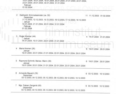 DER NEUNTE TAG // Produktionsmaterial / Drehplan, 2