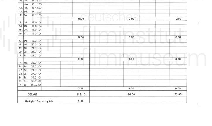DER NEUNTE TAG // Produktionsmaterial / Drehplan, 4