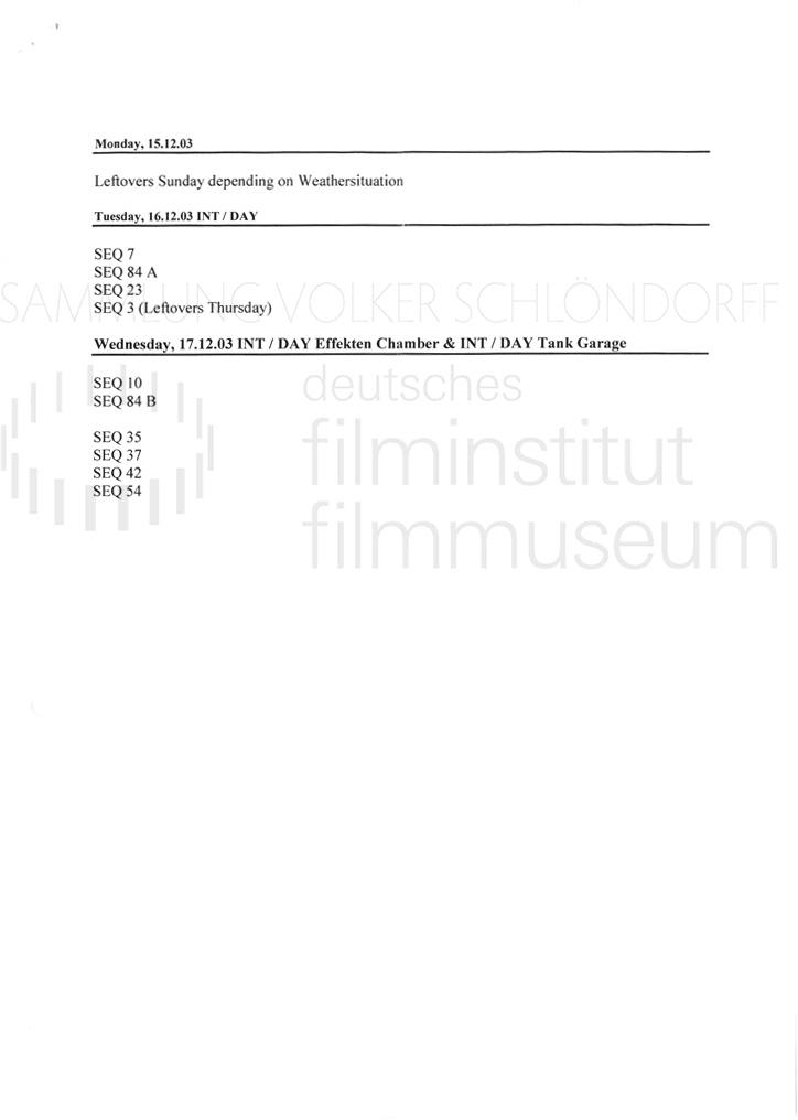 DER NEUNTE TAG // Produktionsmaterial / Shotlist, 7