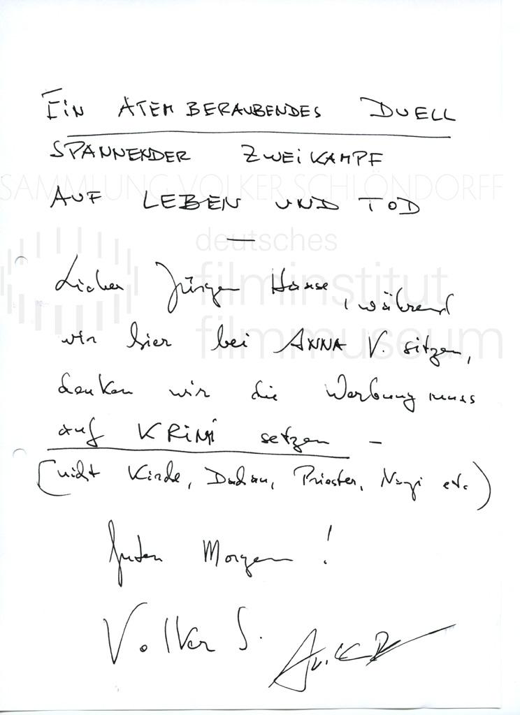 DER NEUNTE TAG // Korrespondenz / Volker Schlöndorff, 2