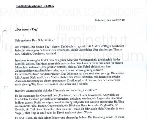 DER NEUNTE TAG // Korrespondenz / Volker Schlöndorff, 3