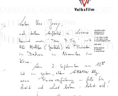 DER NEUNTE TAG // Korrespondenz / Volker Schlöndorff, 4