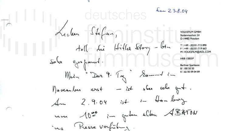 DER NEUNTE TAG // Korrespondenz / Volker Schlöndorff, 5