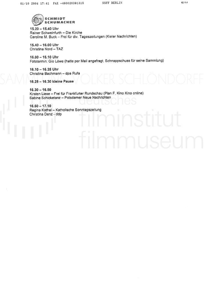 DER NEUNTE TAG // Korrespondenz / Schmidt Schumacher, 1a