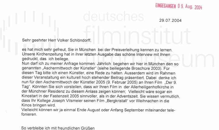 DER NEUNTE TAG // Korrespondenz / Pater Georg Maria Rosers SJ