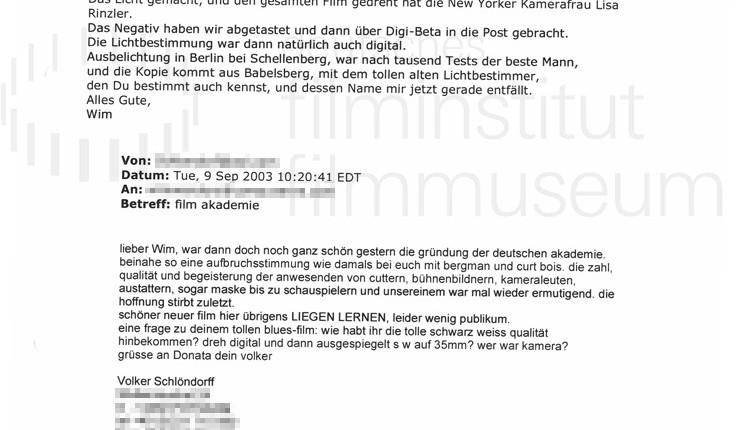 DER NEUNTE TAG // Korrespondenz / Wim Wenders