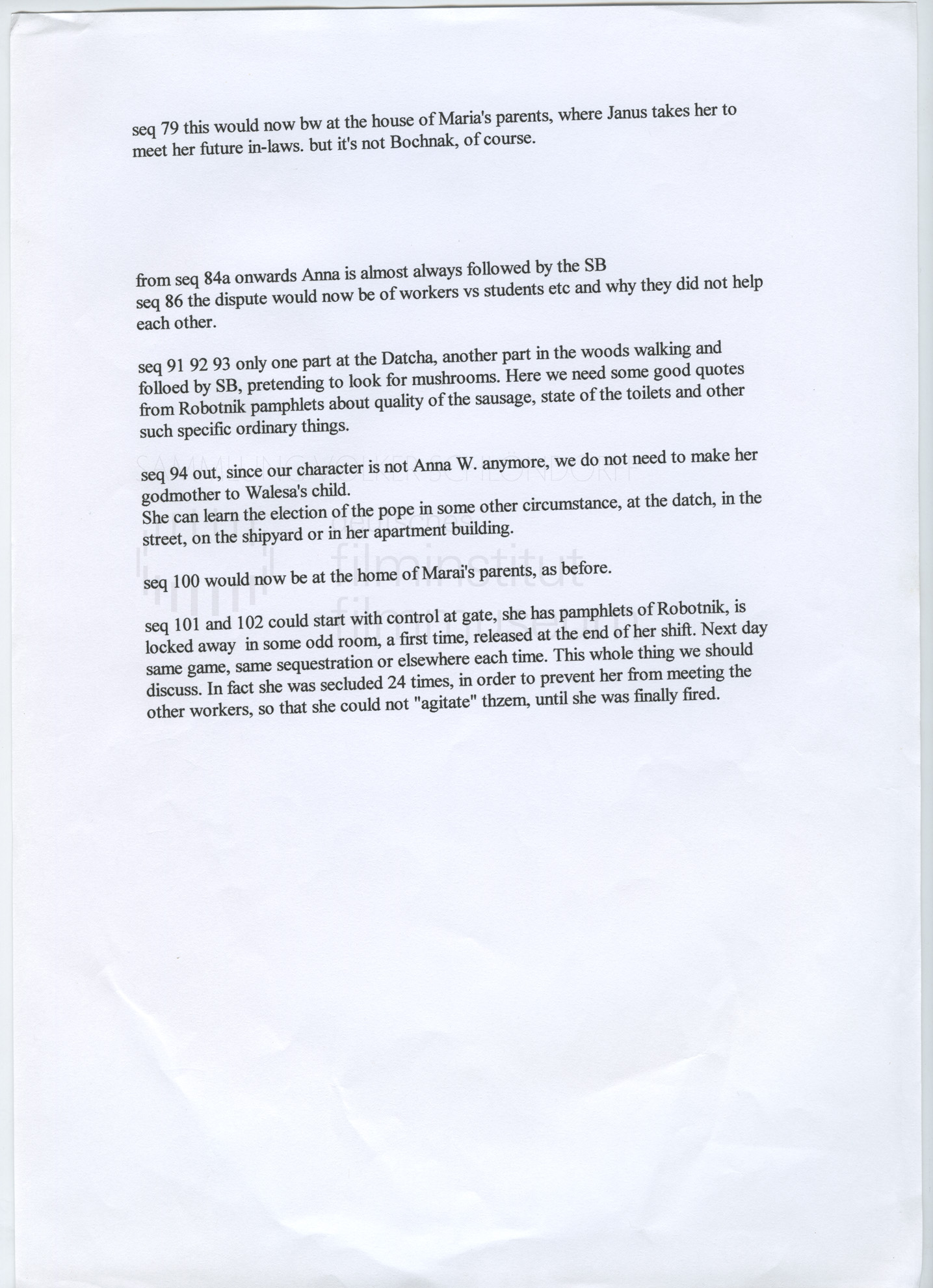 STRAJK // Produktionsmaterial / Drehbuchnotizen, 1b