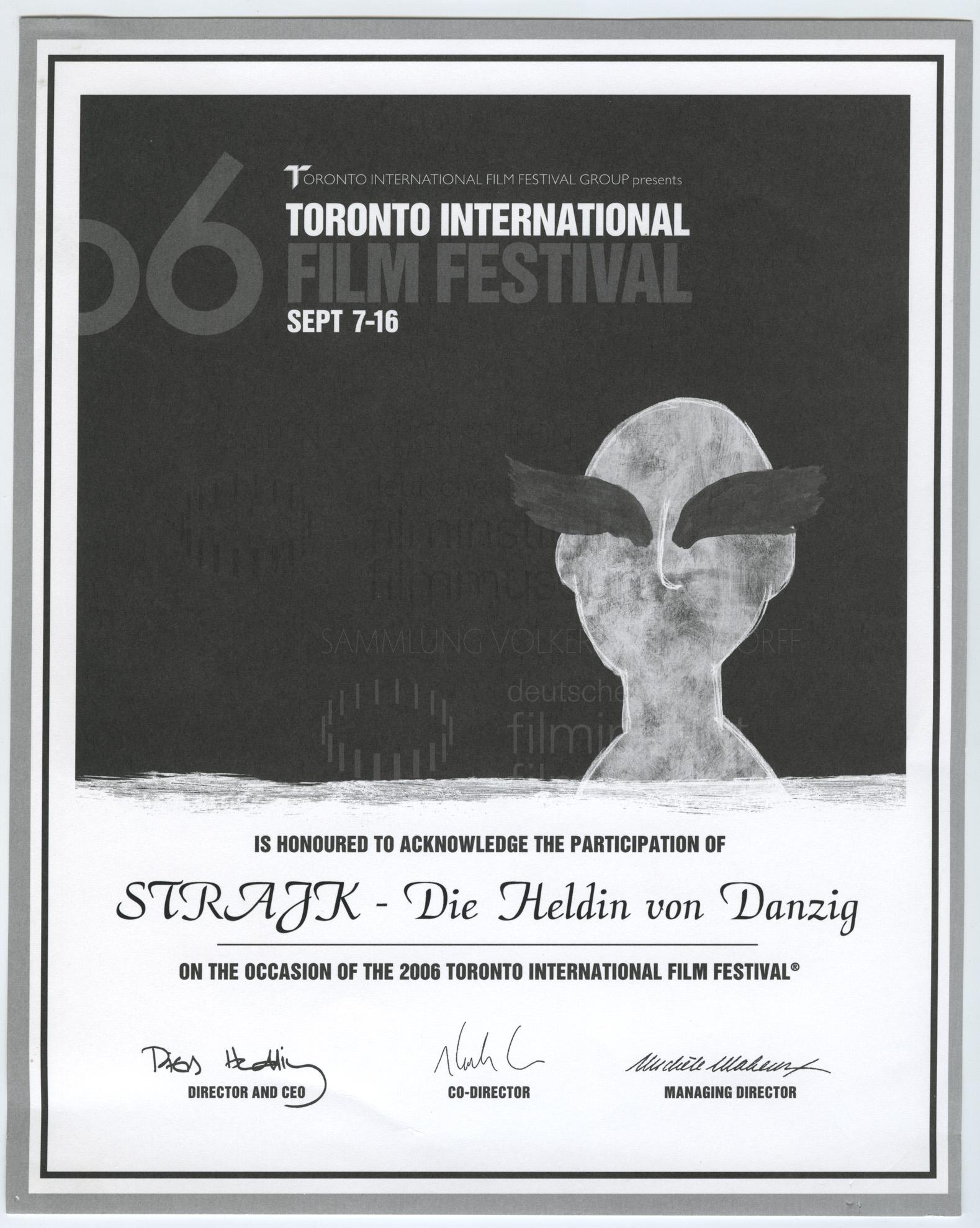 STRAJK // Auszeichnungen / Toronto International Film Festival 7.11.2016