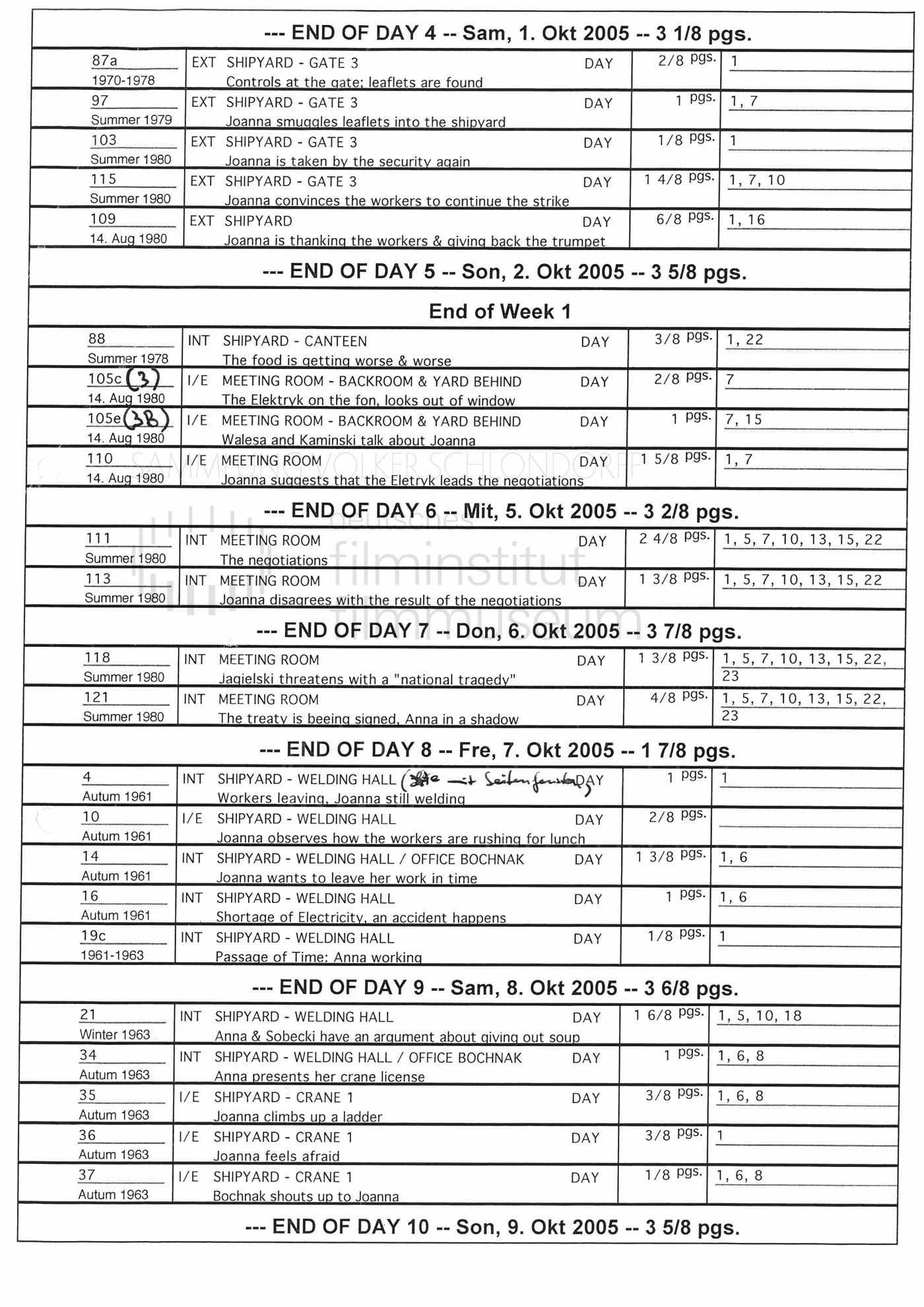 STRAJK // Produktionsmaterial // Drehplan, 01.10.2005