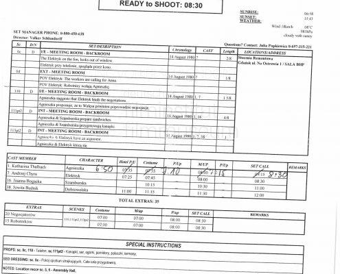 STRAJK // Produktionsmaterial / Tagesdispo 16.11.2005