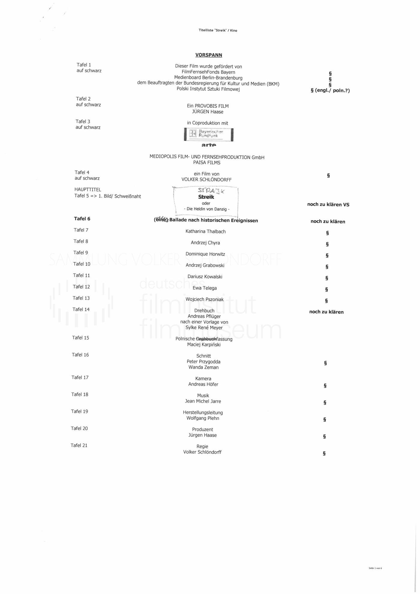 STRAJK // Produktionsmaterial / Abspann, 1a