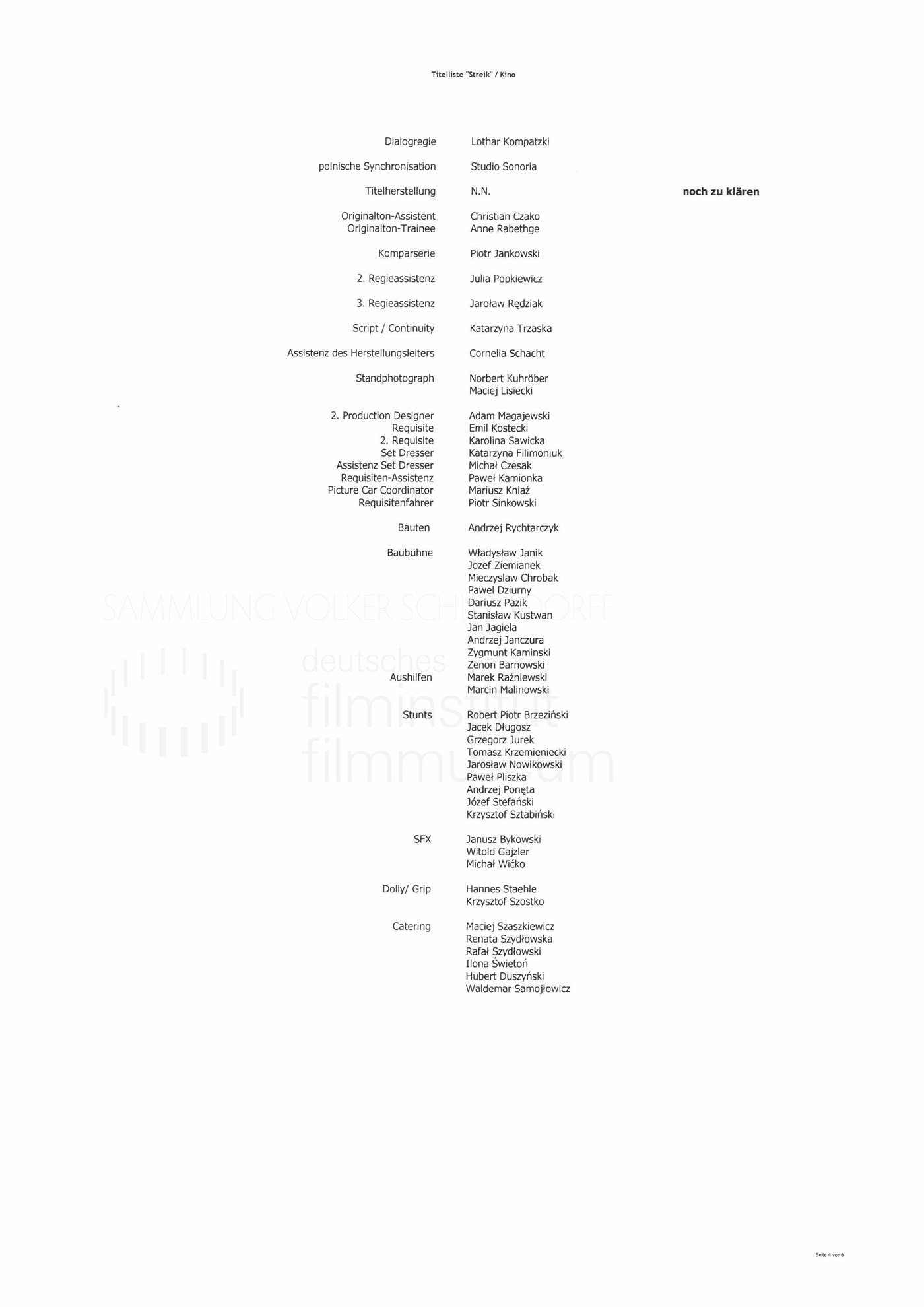 STRAJK // Produktionsmaterial / Abspann, 1d