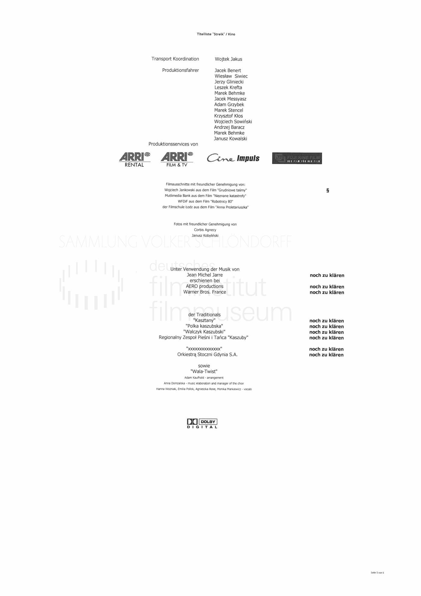 STRAJK // Produktionsmaterial / Abspann, 1e