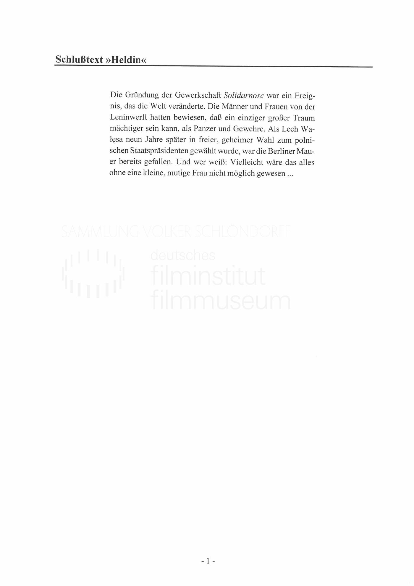 STRAJK // Produktionsmaterial / Abspann, 1g