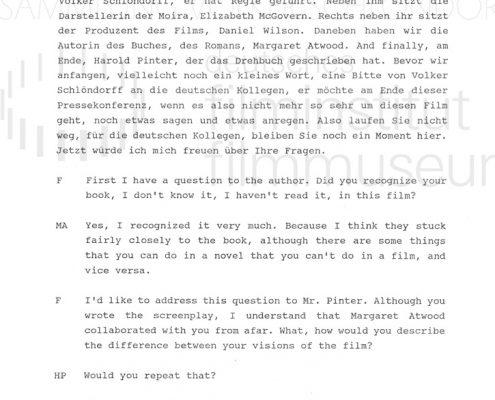 DIE GESCHICHTE DER DIENERIN // Sonstiges / Pressekonferenz Berlinale 1990