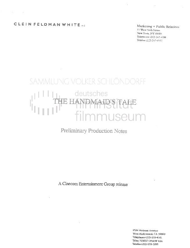DIE GESCHICHTE DER DIENERIN // Werbung und Verleih / Production Notes