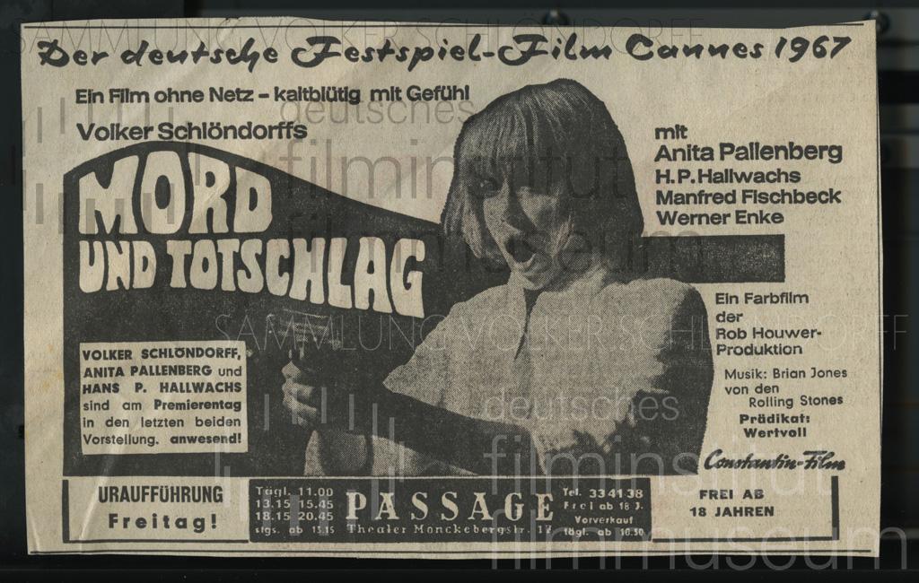 MORD UND TOTSCHLAG // Werbung und Verleih / Anzeige Uraufführung Hamburg