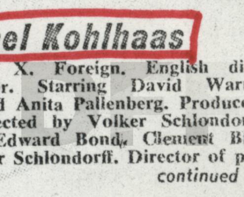MICHAEL KOHLHAAS - DER REBELL // PRESSE / Kinematograph Weekly - Michael Kohlhaas 2